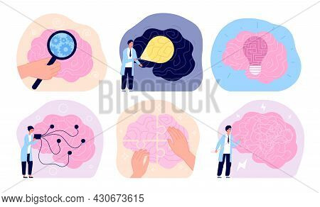 Mental Health. Medical Healthcare, Psychology Care Support. Hospital Poster, Doctor Therapy With Pro