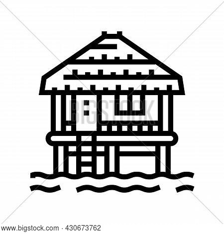 Bungalow Building On Water Line Icon Vector. Bungalow Building On Water Sign. Isolated Contour Symbo