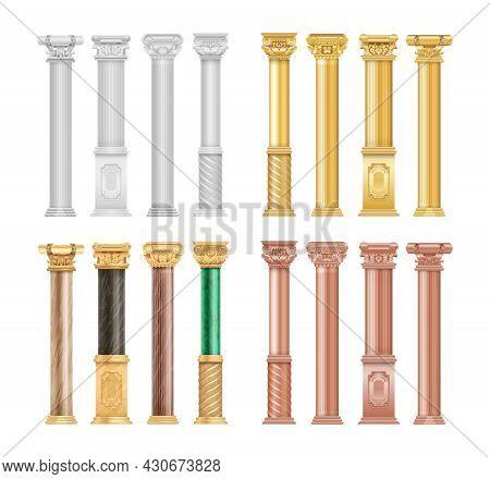 Gold White Bronze Columns. Realistic Malachite Stone And Golden Antique Roman Column. Isolated Archi