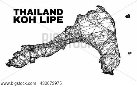 Carcass Irregular Mesh Koh Lipe Map. Abstract Lines Are Combined Into Koh Lipe Map. Linear Frame Fla