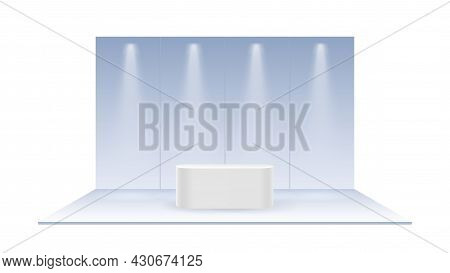 Pastel Blank Exhibition Trade. Realistic Show Booth, Empty Promotional Advertising Stand Or Pedestal