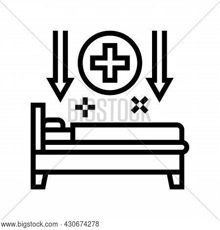 Bed Rest Hepatitis Line Icon Vector. Bed Rest Hepatitis Sign. Isolated Contour Symbol Black Illustra
