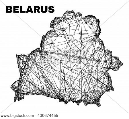 Carcass Irregular Mesh Belarus Map. Abstract Lines Are Combined Into Belarus Map. Wire Carcass Flat