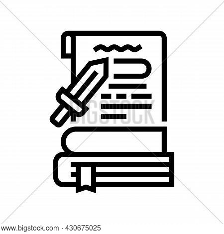 History Book Line Icon Vector. History Book Sign. Isolated Contour Symbol Black Illustration
