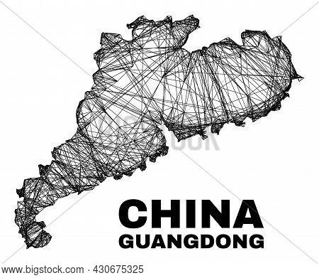 Net Irregular Mesh Guangdong Province Map. Abstract Lines Form Guangdong Province Map. Linear Carcas