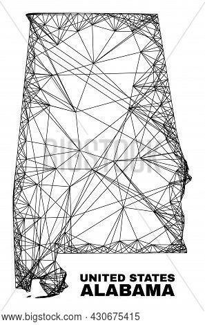 Net Irregular Mesh Alabama State Map. Abstract Lines Form Alabama State Map. Wire Carcass Flat Net I