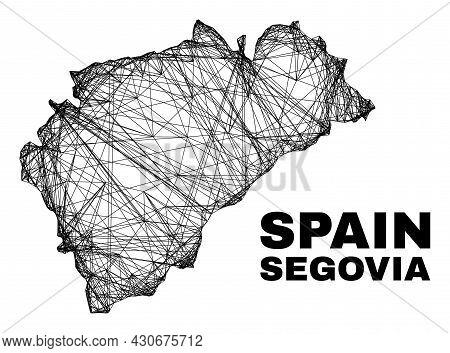 Net Irregular Mesh Segovia Province Map. Abstract Lines Form Segovia Province Map. Linear Carcass Fl