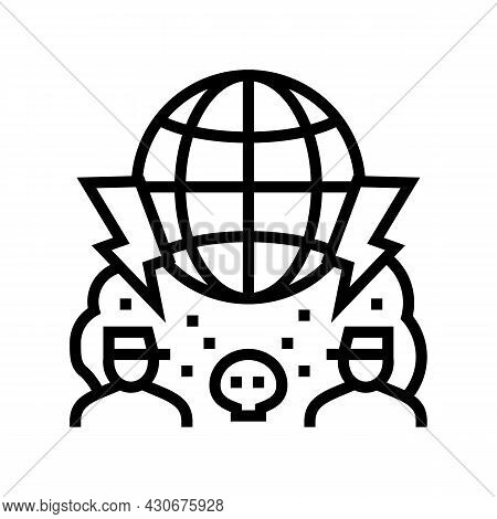Large Scale Conflict And Wars Social Problem Line Icon Vector. Large Scale Conflict And Wars Social