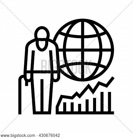 Ageing Social Problem Line Icon Vector. Ageing Social Problem Sign. Isolated Contour Symbol Black Il