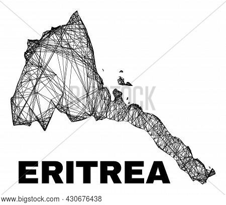 Net Irregular Mesh Eritrea Map. Abstract Lines Are Combined Into Eritrea Map. Linear Frame 2d Net In