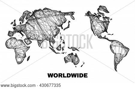 Network Irregular Mesh Worldwide Map. Abstract Lines Are Combined Into Worldwide Map. Wire Frame Fla