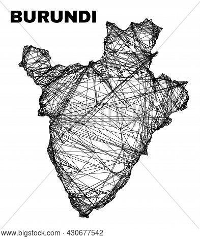 Carcass Irregular Mesh Burundi Map. Abstract Lines Are Combined Into Burundi Map. Wire Carcass 2d Ne