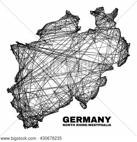 Wire Frame Irregular Mesh North Rhine-westphalia Land Map. Abstract Lines Are Combined Into North Rh