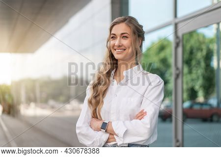 Businesswoman Successful Woman Smiling Business Person Standing Outdoor Corporate Building Exterior.