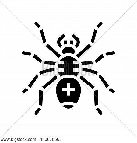 Spider Halloween Glyph Icon Vector. Spider Halloween Sign. Isolated Contour Symbol Black Illustratio