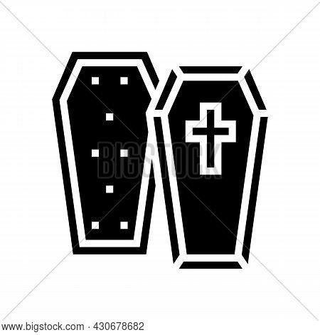 Coffin Halloween Glyph Icon Vector. Coffin Halloween Sign. Isolated Contour Symbol Black Illustratio