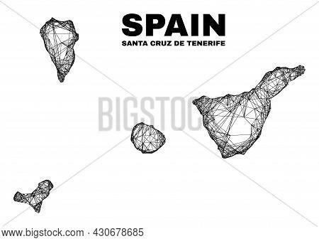 Network Irregular Mesh Santa Cruz De Tenerife Province Map. Abstract Lines Form Santa Cruz De Teneri