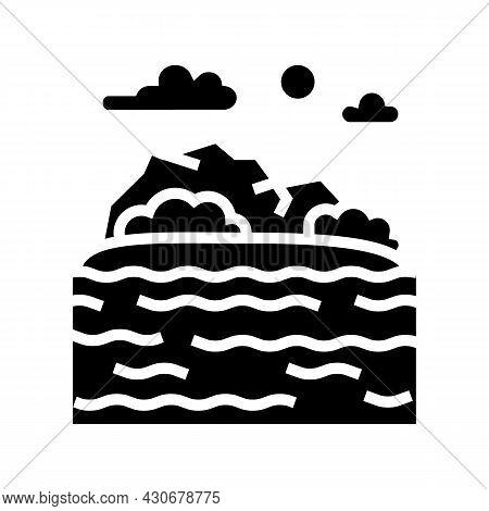 Sea Coast Hawaii Glyph Icon Vector. Sea Coast Hawaii Sign. Isolated Contour Symbol Black Illustratio