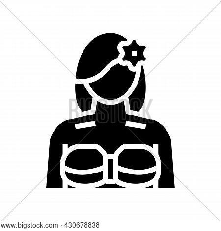 Girl Hawaiian Glyph Icon Vector. Girl Hawaiian Sign. Isolated Contour Symbol Black Illustration