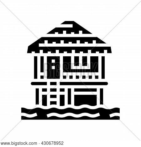 Bungalow Building On Water Glyph Icon Vector. Bungalow Building On Water Sign. Isolated Contour Symb