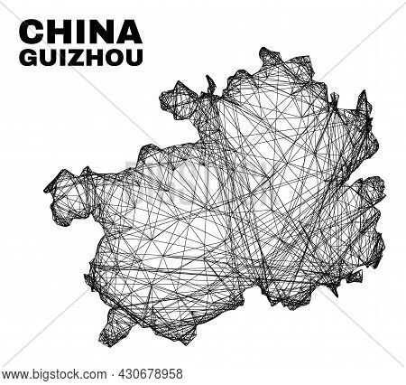 Carcass Irregular Mesh Guizhou Province Map. Abstract Lines Form Guizhou Province Map. Wire Carcass