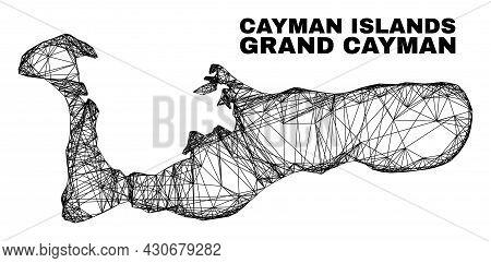 Net Irregular Mesh Grand Cayman Island Map. Abstract Lines Form Grand Cayman Island Map. Linear Fram