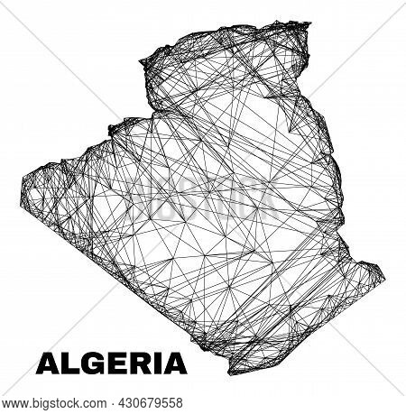 Carcass Irregular Mesh Algeria Map. Abstract Lines Are Combined Into Algeria Map. Wire Carcass 2d Ne