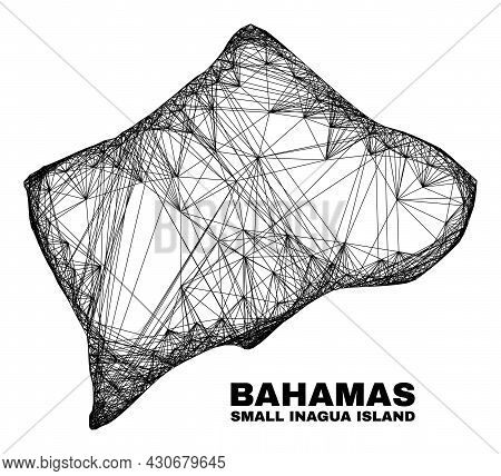 Net Irregular Mesh Small Inagua Island Map. Abstract Lines Are Combined Into Small Inagua Island Map