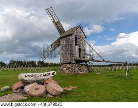 Angla, Estonia - 15 August, 2021: View Of The Angla Windmills On Saaremaa Island In Estonia