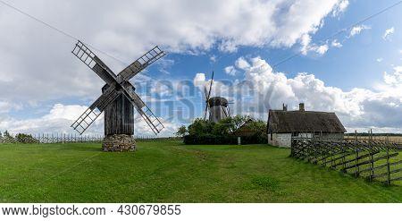 Angla, Estonia - 15 August, 2021: Panorama View Of The Angla Windmills On Saaremaa Island In Estonia