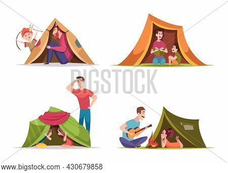 Kids Tent. Children With Parents Playing Family Happy Time Mother And Father Fun In Tent Exact Vecto