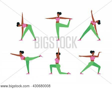 Yoga Characters. Healthy Lifestyle Active Female Person In Yoga Poses Sportive Stretch Fitness Young