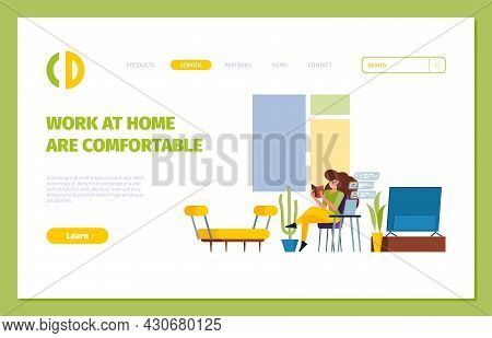 Freelance Landing. Business Web Page With Freelance Characgers Relaxing At Distance Work At Home Pla