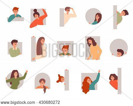 Peeping People. Characters Looking Out Various Frames Cheering Curious Recent Vector Cartoon Persons