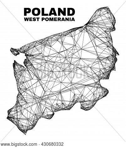 Wire Frame Irregular Mesh West Pomeranian Voivodeship Map. Abstract Lines Form West Pomeranian Voivo