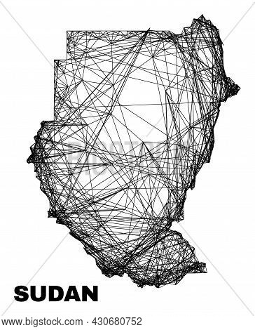 Carcass Irregular Mesh Sudan Map. Abstract Lines Are Combined Into Sudan Map. Wire Frame 2d Network