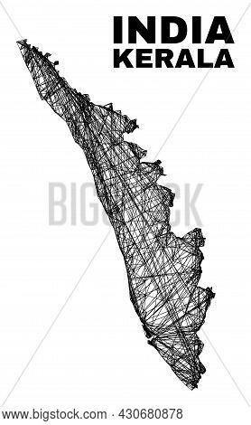 Carcass Irregular Mesh Kerala State Map. Abstract Lines Form Kerala State Map. Wire Carcass Flat Net