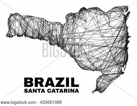 Carcass Irregular Mesh Santa Catarina State Map. Abstract Lines Form Santa Catarina State Map. Linea