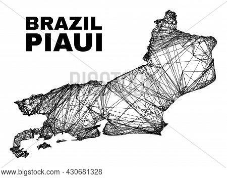 Carcass Irregular Mesh Piaui State Map. Abstract Lines Form Piaui State Map. Linear Carcass 2d Netwo