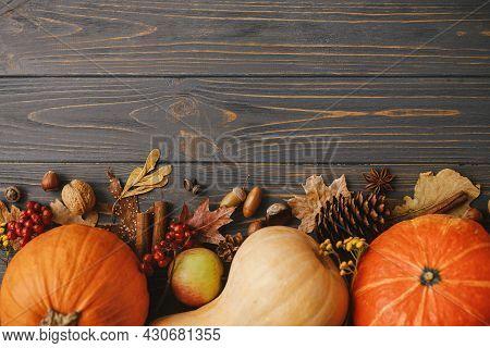 Thanksgiving Flat Lay. Pumpkins, Autumn Leaves, Anise, Acorns, Cinnamon Border On Rustic Dark Wood W