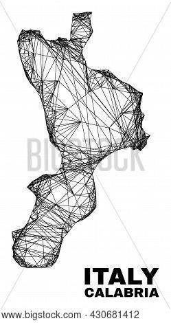 Wire Frame Irregular Mesh Calabria Region Map. Abstract Lines Are Combined Into Calabria Region Map.