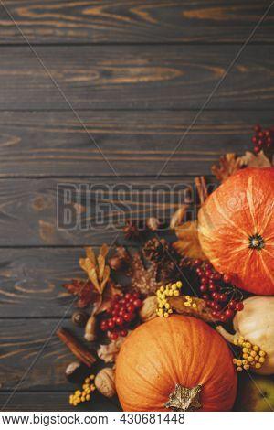 Pumpkins, Autumn Leaves, Anise, Acorns, Cinnamon Border On Rustic Dark Wood. Happy Thanksgiving And