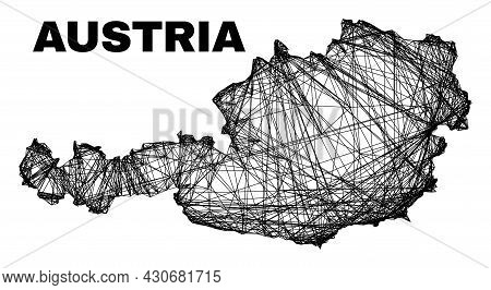 Wire Frame Irregular Mesh Austria Map. Abstract Lines Form Austria Map. Wire Frame Flat Net In Vecto