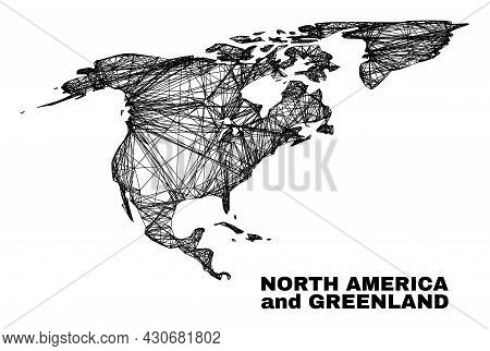 Wire Frame Irregular Mesh North America And Greenland Map. Abstract Lines Are Combined Into North Am