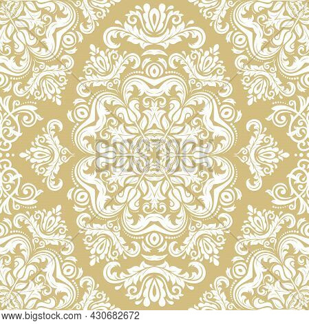 Classic Seamless Pattern. Damask Orient Ornament. Classic Vintage Golden And White Background. Orien