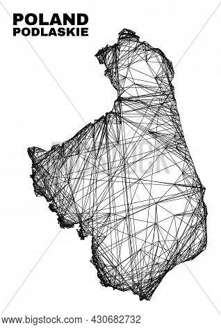 Net Irregular Mesh Podlaskie Voivodeship Map. Abstract Lines Form Podlaskie Voivodeship Map. Wire Fr
