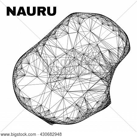 Carcass Irregular Mesh Nauru Map. Abstract Lines Are Combined Into Nauru Map. Wire Carcass 2d Net In