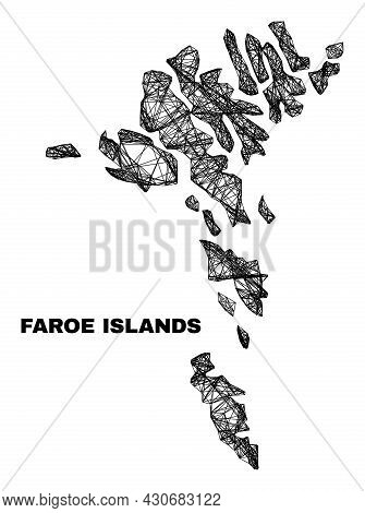 Net Irregular Mesh Faroe Islands Map. Abstract Lines Form Faroe Islands Map. Wire Carcass Flat Net I