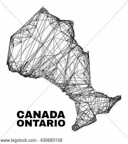 Carcass Irregular Mesh Ontario Province Map. Abstract Lines Form Ontario Province Map. Linear Carcas