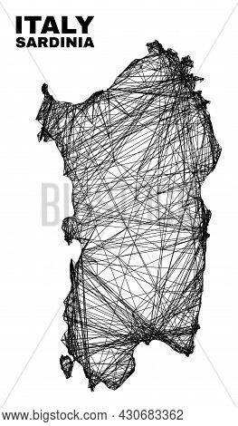 Carcass Irregular Mesh Sardinia Map. Abstract Lines Are Combined Into Sardinia Map. Wire Carcass 2d